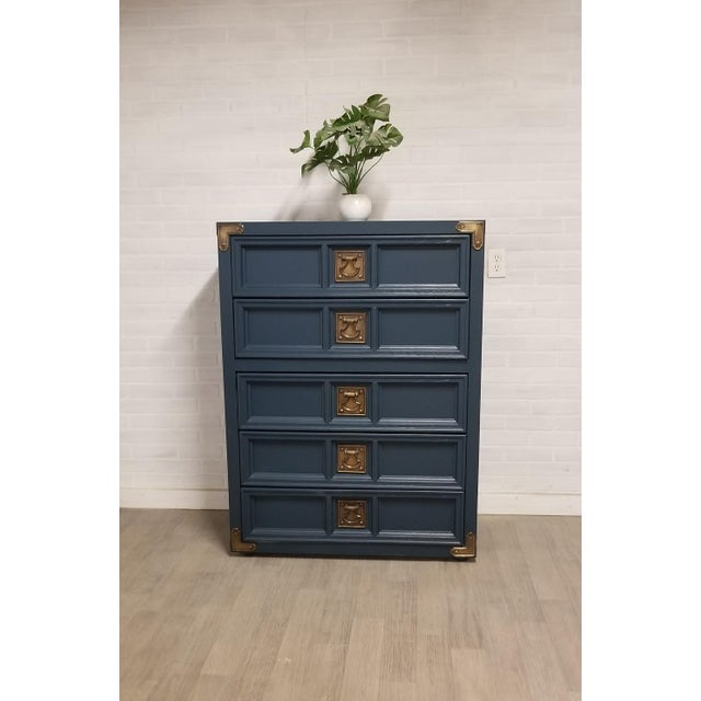Vintage chest transformed into a gorgeous piece of furniture. Painted Satin Navy blue and accented with original vintage...