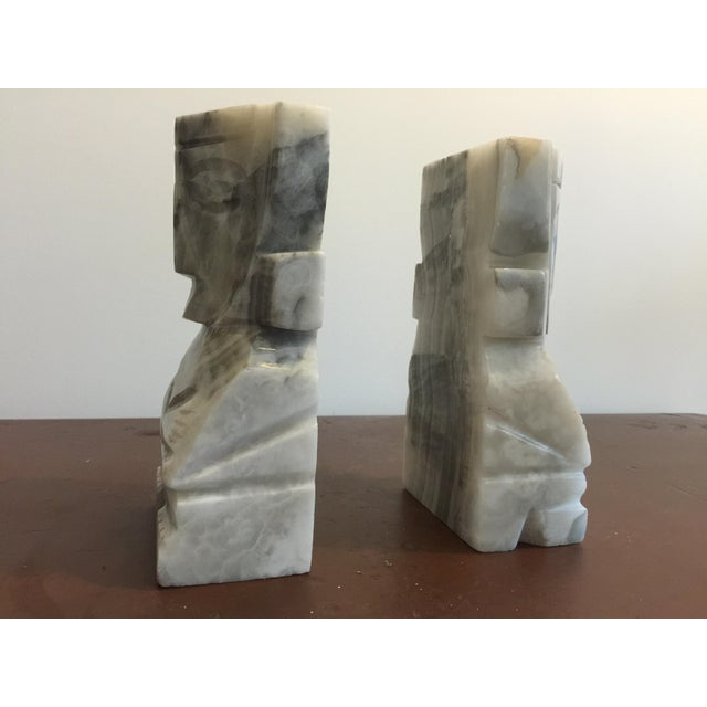 Large White Marble Tiki Bookends - Image 5 of 5