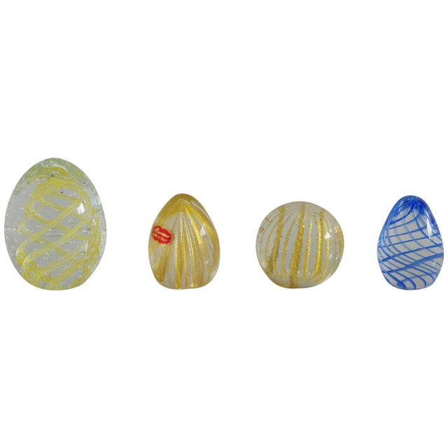 Glass Collection of Four Italian Murano Glass Paperweights With Gold and Stripes For Sale - Image 7 of 7