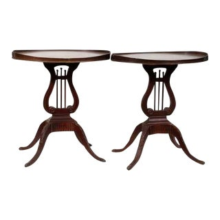 Vintage Mersman Mahogany Oval Lyre Base Side Tables - A Pair
