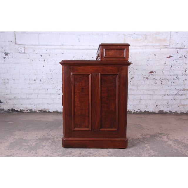 Antique 1850s Victorian Carved Flame Mahogany Chicago Railroad Desk For Sale - Image 10 of 13