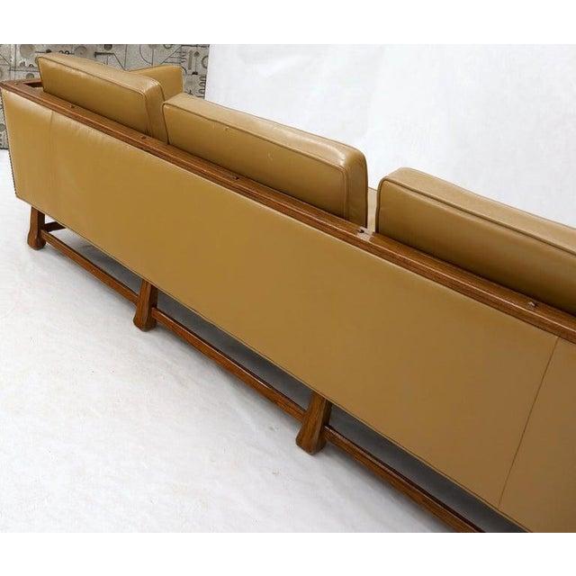 Ranch Oak Mid-Century Modern Tan Leather Oak Frame Sofa by Ranch Oak For Sale - Image 4 of 13