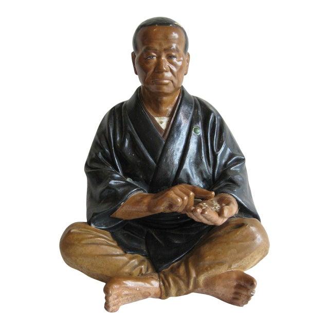 Mid Century Japanese Clay Doll Figurine Statue Rice Merchant Wabi Sabi Handmade Antique Hakata For Sale