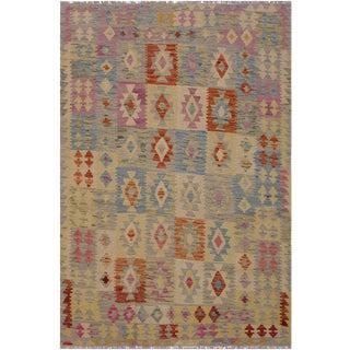 Kilim Arla Hand-Woven Wool Rug -5'0 X 6'6 For Sale