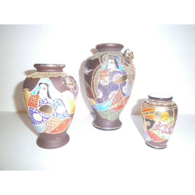 Vintage Japanese Satsuma Vases - Set of Three - Image 2 of 11