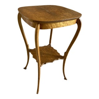 Antique Birdseye Maple Veneer Accent Table For Sale