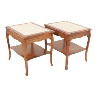20th Century French Provincial Style Stone Panel Side Tables - a Pair For Sale