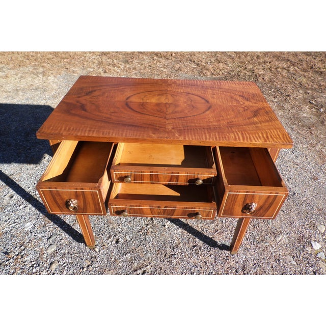 1940s Antique Sheraton Federal Walnut Petite Buffet Server Cart Entry Table Console For Sale - Image 5 of 13