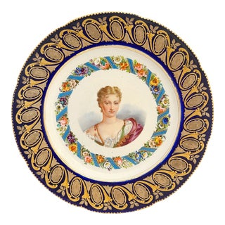 18th Century French Sevres Hand Painted Cobalt Blue Grounded Portrait of Marguerite De Lussan Plate For Sale