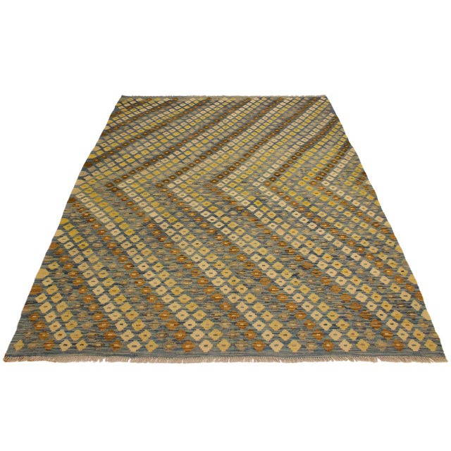 Shabby Chic Shabby Chic Abstract Zorion Blue/Brown Hand-Woven Kilim Wool Rug -6'1 X 7'9 For Sale - Image 3 of 8