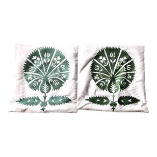 Embroidery on Silk Pillow Cover- A Pair For Sale