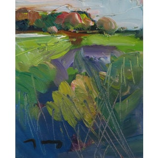 """""""Green Field"""" Contemporary Nature Landscape Oil Painting by Jose Trujillo For Sale"""