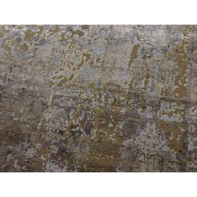 Hand Knotted Indian Wool and Silk Rug - 9'x 12' For Sale - Image 11 of 12