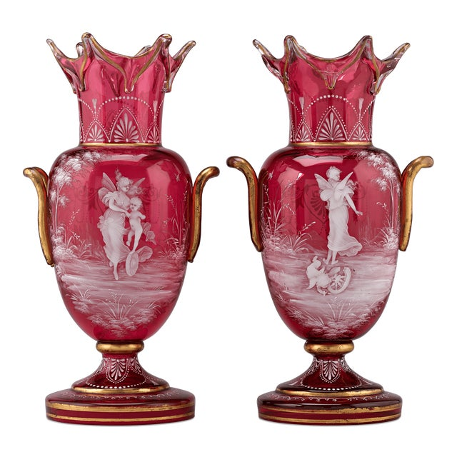 Mary Gregory Cranberry Glass Vases For Sale - Image 9 of 9