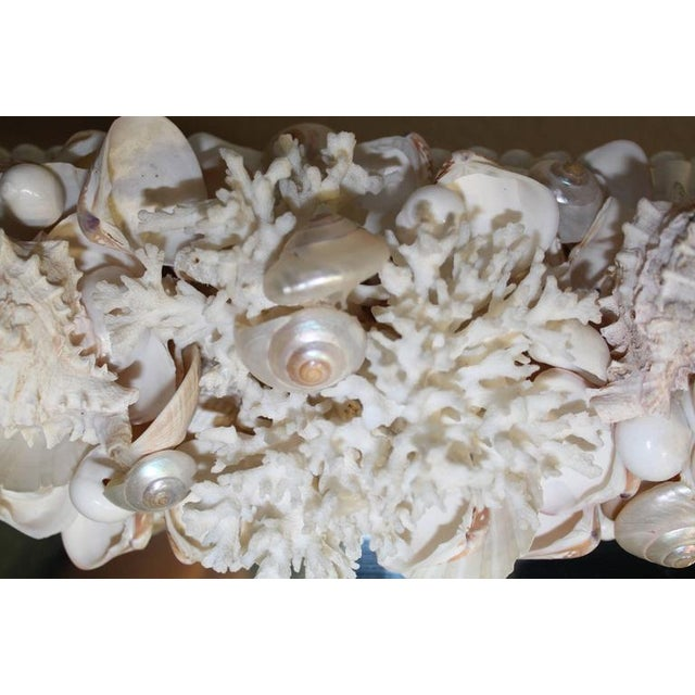 Vintage Seashell Encrusted Wall Mirror Palm Beach Vintage Coral Shell For Sale - Image 4 of 5