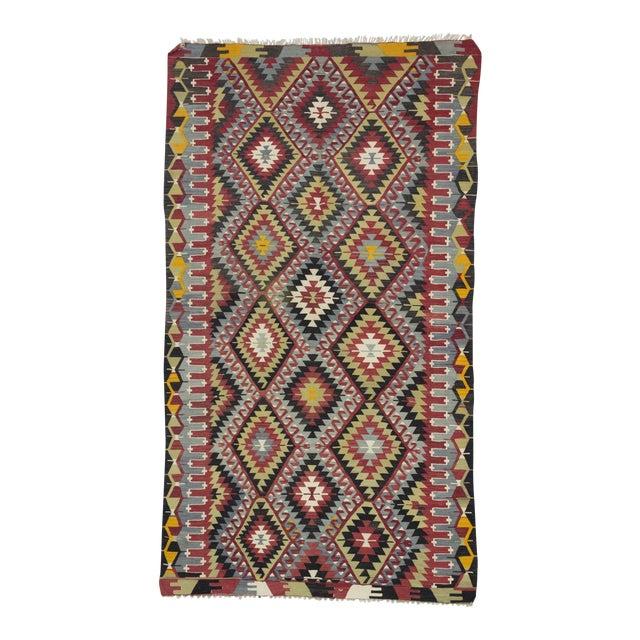 Vintage Turkish Kilim Hand Woven Rug - 5′2″ × 9′3″ For Sale