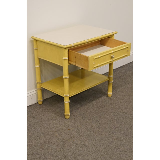 1960s Vintage Thomasville Furniture Allegro Collection Asian Faux Bamboo Nightstand For Sale - Image 5 of 11