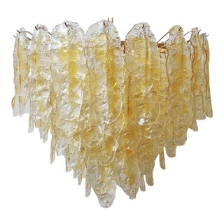 Italian Chandelier W/ Hand Blown Amber Murano Glass Leaves, 1980s. For Sale