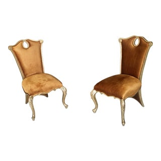 French High Back Accent Chairs - A Pair For Sale