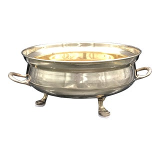 Mid-Century Footed Round Brass Planter For Sale