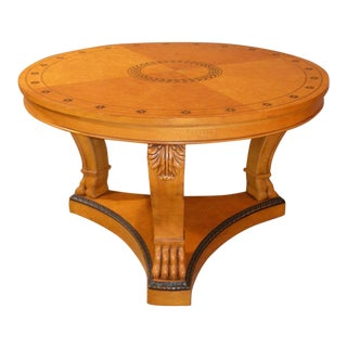 Biedermier Style Round Inlaid Center Hall Table W/Claw Feet For Sale