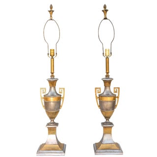 Pair of Polished Spelter Neoclassical Lamps For Sale