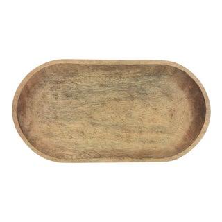 Large Oval Handcarved Wood Platter For Sale