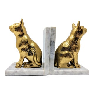 1990s Brass and White Marble Bookends - Pair (2) For Sale
