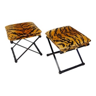 Ebonized Wood and Metal X-Form Stools W/Tiger Cushion Upholstery -A Pair For Sale