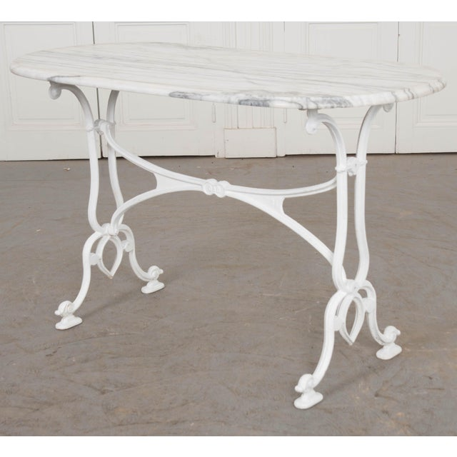 White Early 20th Century French Marble Top Bistro Table For Sale - Image 8 of 10