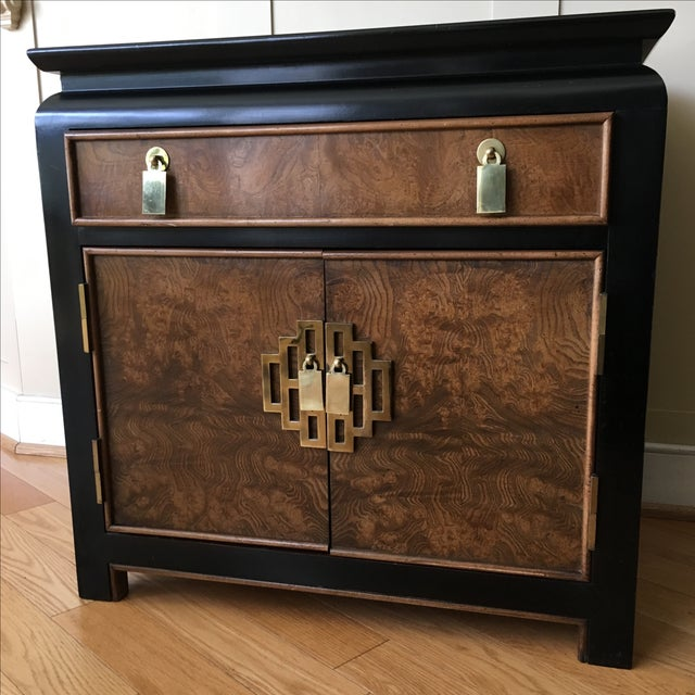Vintage Century Burled Wood Asian Nightstand - Image 2 of 11