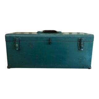 Vintage Teal Metal Toolbox For Sale