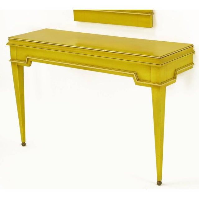 Empire Style Console and Mirror in Glazed Yellow Lacquer For Sale - Image 4 of 10