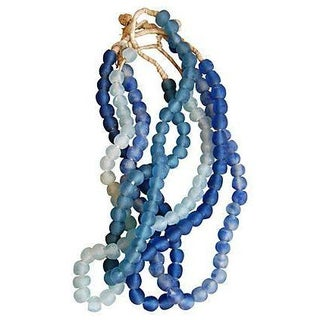 Aqua Blue & White Sea Glass Beads - 4 Strands