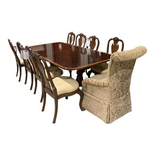 Ethan Allen Flame Mahogany Inlaid Dining Room Set With Table, Ten Chairs, Two 22' Leaves and Pads For Sale