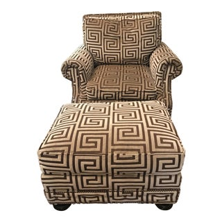 Contemporary Lexington Furniture Club Chair and Ottoman - 2 Pieces For Sale