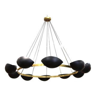 Serge Mouille Style Mid-Century Modern Ring Form Chandelier For Sale