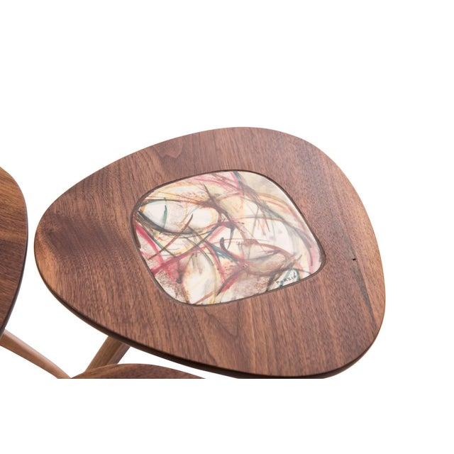 Wood Four Lee Porzio & Allen Ditson Walnut Ceramic Side Tables For Sale - Image 7 of 11