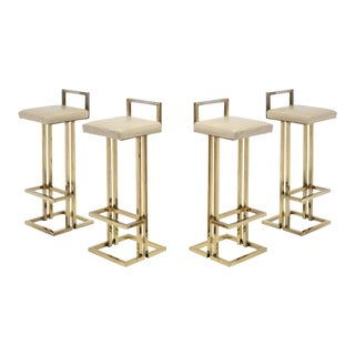 Maison Jansen Brass Stools Set of Four For Sale