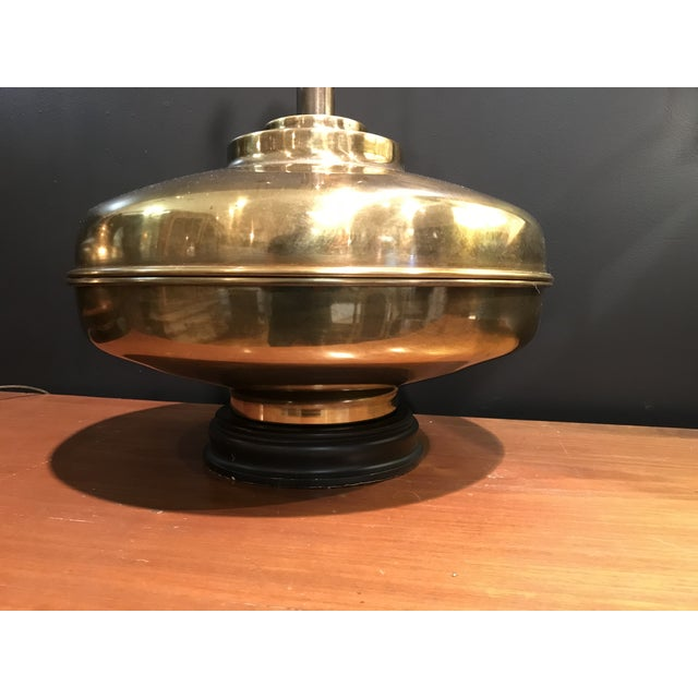 Pair of Mid-Century (1960s) Monumental Brass Marbro Wildwood Era Space-Age / Asian of lamps in excellent condition. The...