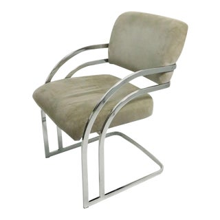 Chrome Banded Arm Chair Attributed to Baughman For Sale