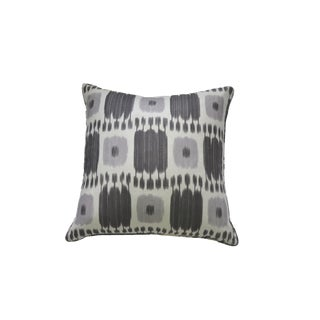 "Schumacher ""Kandira"" Lavender and Gray Ikat Pillow"