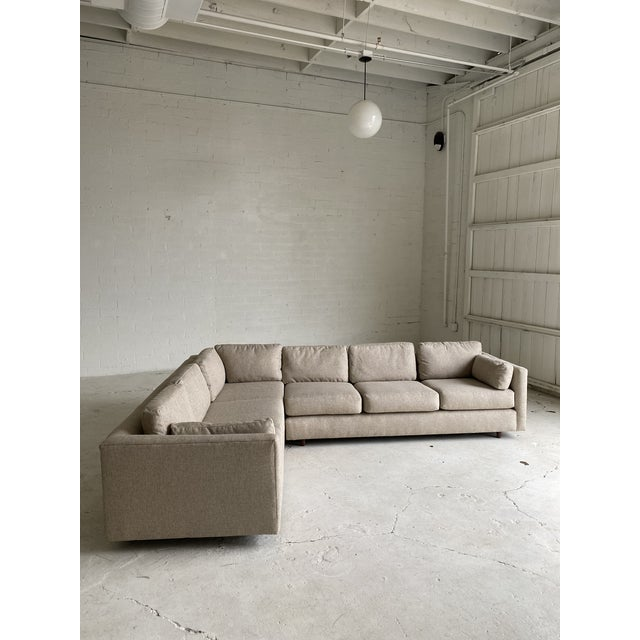 Mid Century Newly Upholstered 2-Piece Tan Sectional For Sale In Phoenix - Image 6 of 11