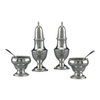Early American Silver Salt and Pepper Service Set of 4 For Sale