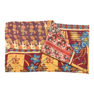 Colorful Kantha Throw Blanket For Sale
