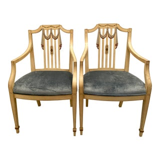 Mid-Century Italian Neoclassical Draped Hand-Painted Wood Chairs - a Pair For Sale