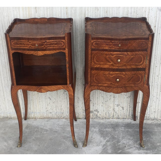 Pair of French Marquetry Walnut Bedside Tables With Drawers and Open Shelf For Sale - Image 4 of 13