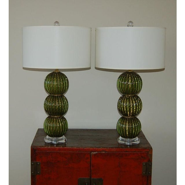 Vintage Murano Glass Stacked Ball Murano Lamps Green Gold For Sale - Image 10 of 10