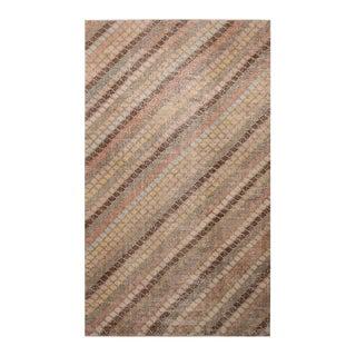 "1950s Vintage Mid-Century Geometric Wool Rug-5'8'x9'9"" For Sale"