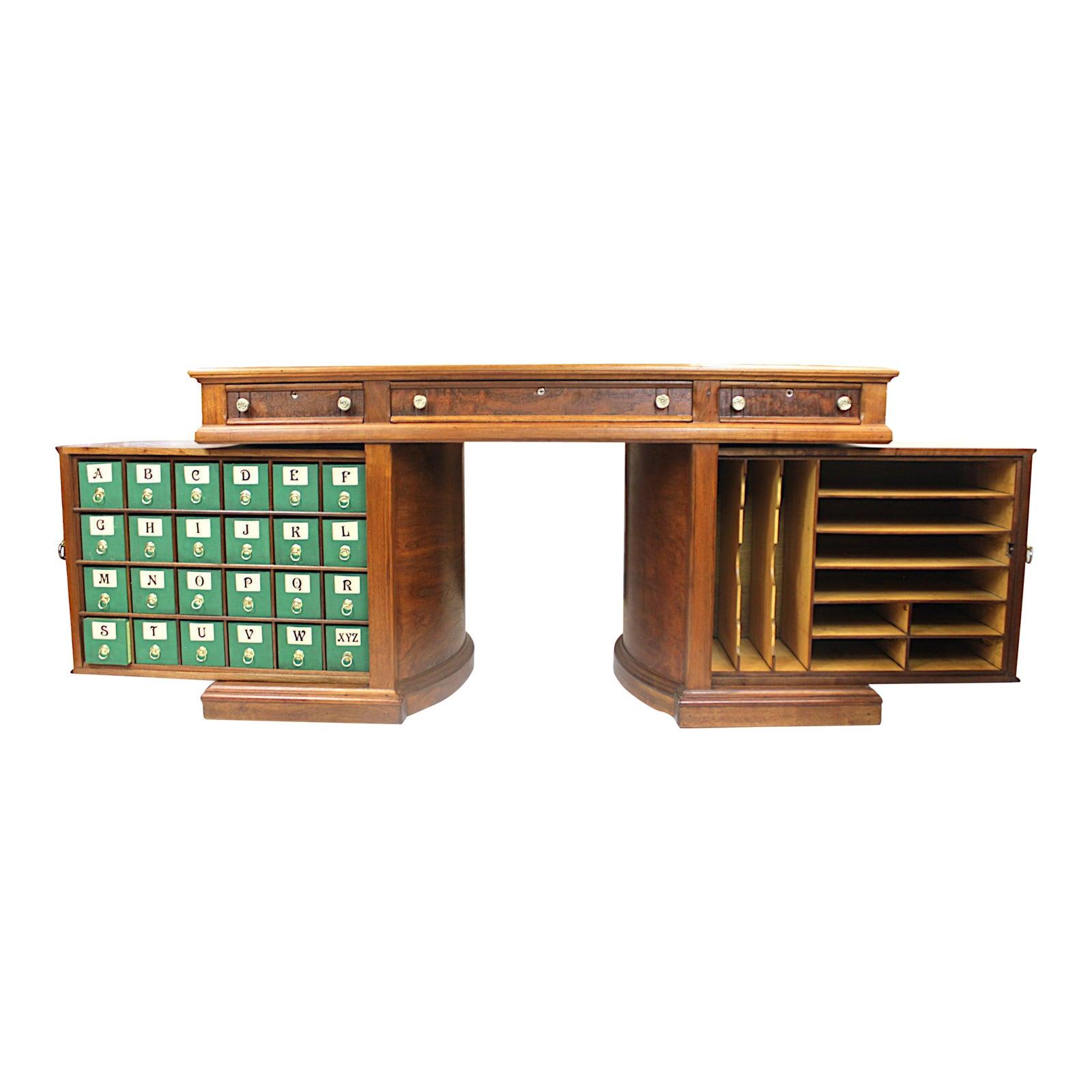 Queen Anne Desk >> Rare 1888 Queen Anne No 8 Walnut Rotary Desk By The Wooton Desk Mfg